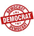 democrat round red grunge stamp vector image vector image