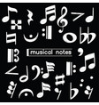 doodle musical note symbol over chalkboard vector image vector image