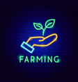 farming neon label vector image