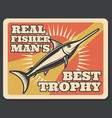 fishing sport banner with fisherman trophy fish vector image vector image