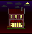 flat house at night two-storey vector image vector image