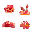 flat meat and sausages icons piles set vector image vector image