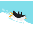 flat style penguin sliding on glacier vector image vector image