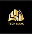 gold tech book logo vector image