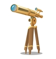 Golden optical telescope on a tripod vector image