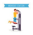 guy using workout station flat vector image vector image