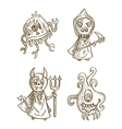 Halloween monsters isolated spooky cartoon vector image