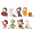 Happy Halloween Funny little children in colorful vector image