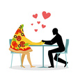 Lover pizza in cafe Man and a slice of pizza vector image