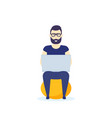 man with laptop sitting on fitball vector image