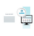 monitor and place for information brochure vector image vector image