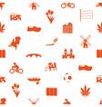 Netherlands country theme icons set seamless vector image vector image