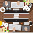 Office Worker Desk With Office Supply vector image