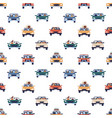 people driving colorful cars seamless pattern vector image