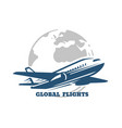 plane flies across globe global flight vector image