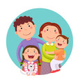 portrait of four member happy family posing vector image