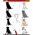 preschool shadow task with dogs vector image vector image
