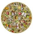 set of cartoon doodle diet food objects vector image vector image