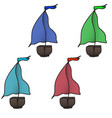 set of four colorful boats vector image