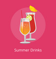 summer drinks pair of refreshing alcohol cocktails vector image