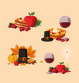 tanksgiving food set icons vector image