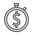 time is money line icon finance and banking vector image vector image