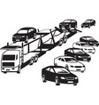 truck unloads at a car dealership vector image vector image