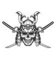 vintage monochrome skull in samurai helmet vector image vector image