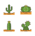 wild cactuses in ground color icons set vector image vector image