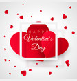 valentines day greeting card template two big vector image