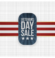 veterans day sale stamp with ribbon and shadow vector image