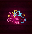 14 february neon label vector image vector image