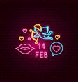14 february neon label vector image