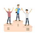 3 men - the winners of the competition vector image