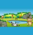 animals around pond scene vector image vector image