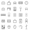 bedroom line icons on white background vector image vector image