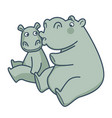 big mommy hippo kisses her baby in cheek vector image vector image