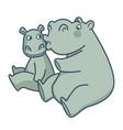 big mommy hippo kisses her bain cheek vector image