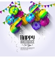 Birthday card with colorful balloons and bunting vector image vector image