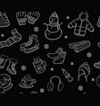 black and white winter elements and objects vector image vector image