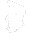 Black White Chad Outline Map vector image vector image