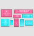 blue and pink fabric tag cloth labels for textile vector image