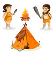 cavemen in stone age weapon tool and ancient vector image vector image