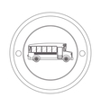 circular contour of silhouette with school bus vector image vector image