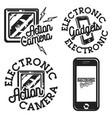 color vintage electronic gadgets emblems vector image vector image