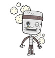 comic cartoon funny robot vector image vector image