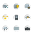 Computer data icons set flat style vector image