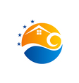 cottage beach house sunset logo vector image vector image