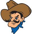 cowboy head logo mascot vector image vector image