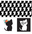 cute cat silhouettes isolated vector image vector image
